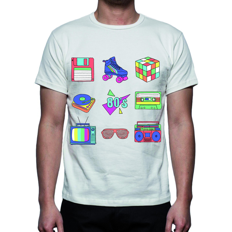 t-shirt anni 80, bianca in poliestere effetto cotone. stampa sublimatica